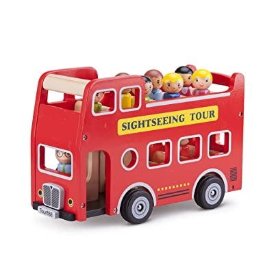 New Classic Toys - City Tour Bus with 9 Play Figures Wood Learning Toy: Toys & Games