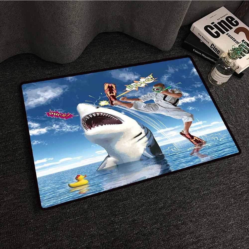 Door mat Customization Sealife Unusual Marine Navy Life Animals Fish Sharks with Karate Kid and Comics Balloon Art Antifouling W35 xL47 Multicolor by Mkedci