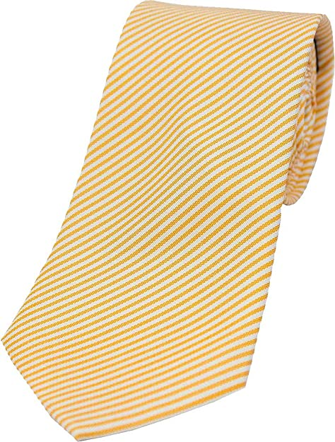Pastel Naranja / Blanco Thin Diagonal Rayas Seda corbata de David ...