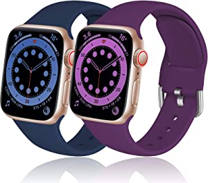 Dirrelo Compatible for Apple Watch Bands 44mm 42mm Series SE 6 5 4 3 2 1 Strap, Soft Silicone Replacement Sport Wrist Band for iwatch Band Women Men, Small Dark Blue & Dark Purple 2-Pack