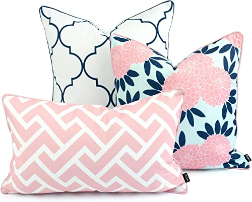 Hofdeco Spring Indoor Outdoor Pillow Cover ONLY, Water Resistant for Patio Lounge Sofa, Navy Pink Moroccan Maze Floral, 18 x18 20 x20 12 x20 , Set of 3