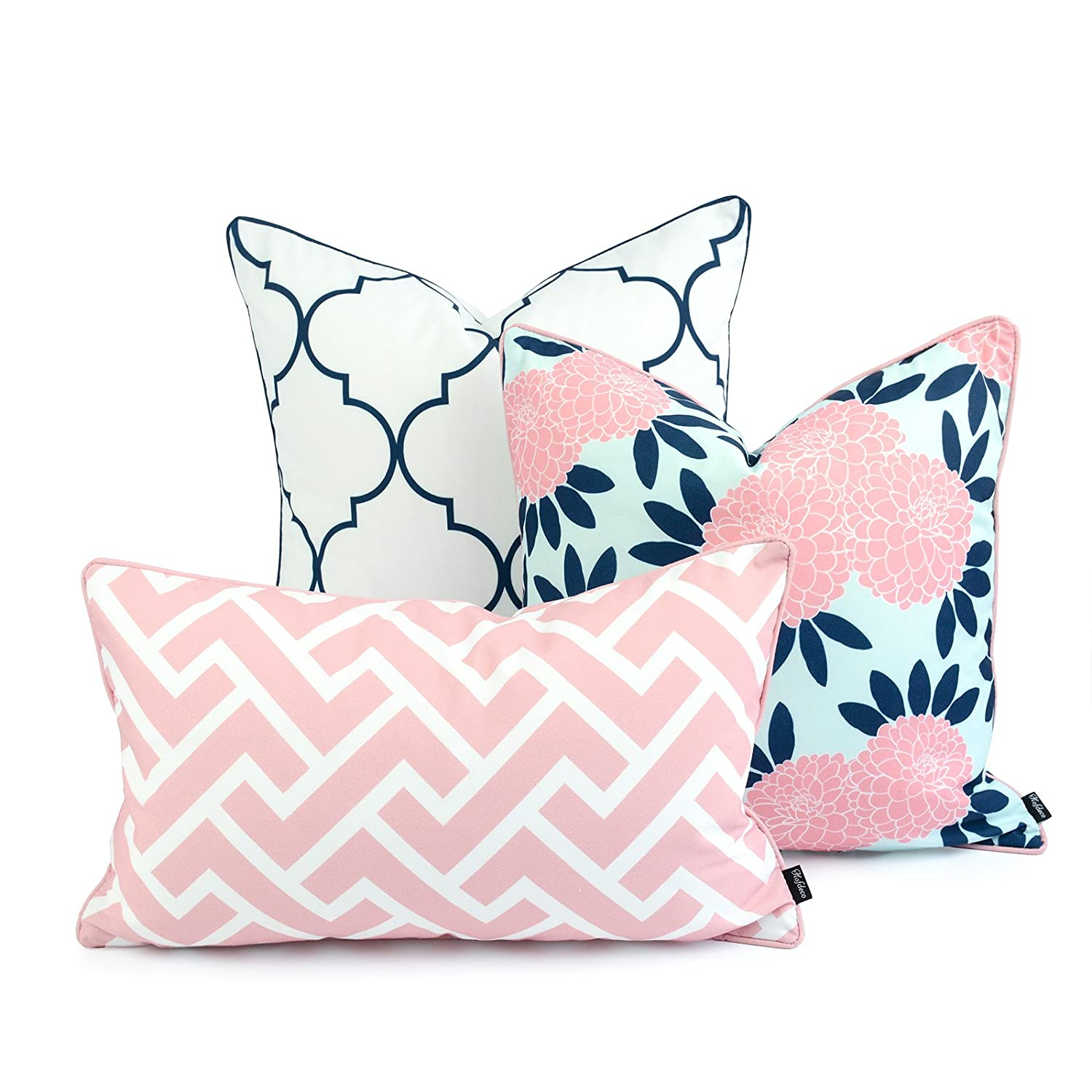 Hofdeco Decorative Throw and Lumbar Pillow Cover Indoor Outdoor Water Resistant Canvas Spring Navy Pink Quatrefoil Maze Chinoiserie Floral 18 x18 20 x20 12 x20 Set of 3