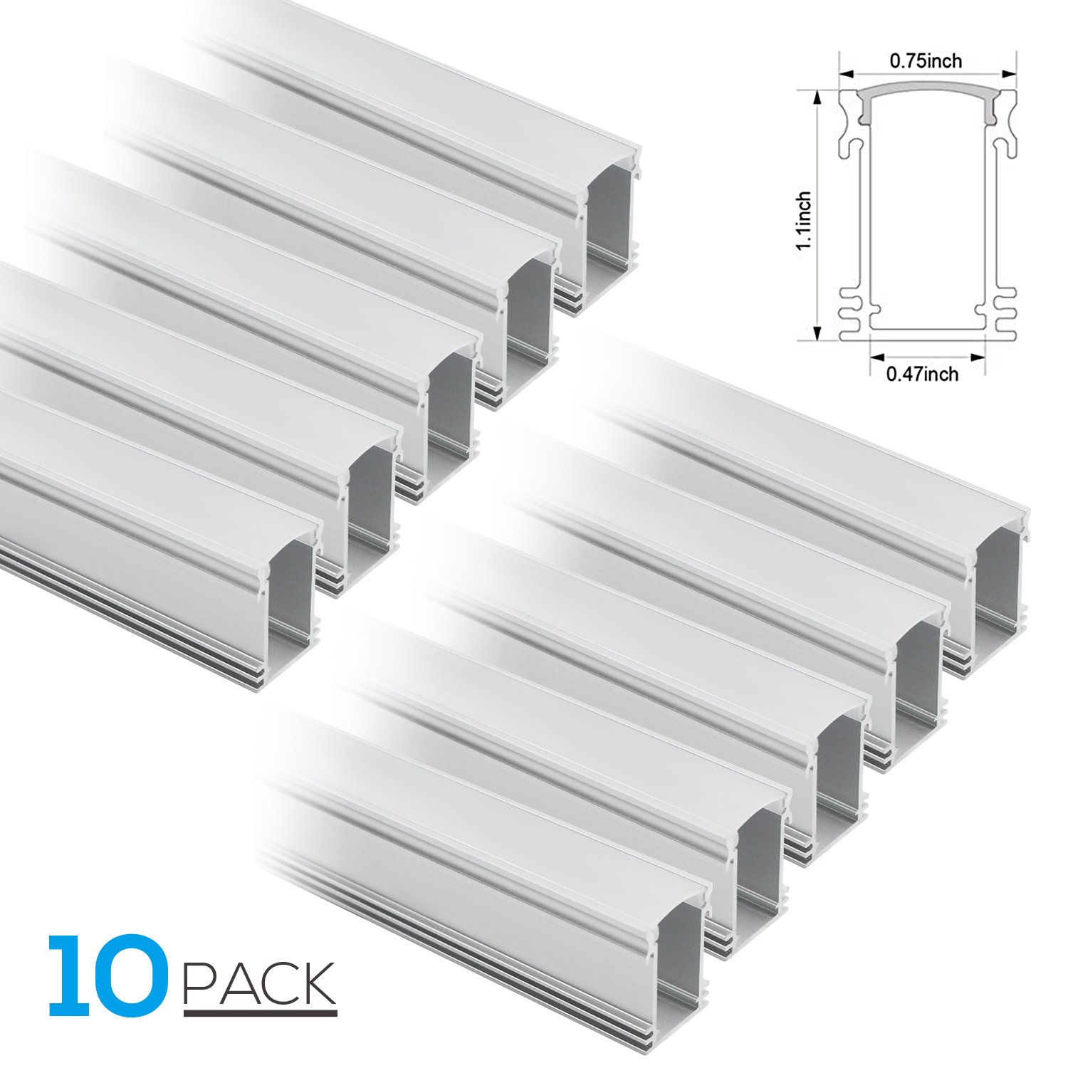 TORCHSTAR 1M/3.3ft U-Shape Aluminum Channel for flex/hard LED Strip Lights, Aluminum Profile w/Oyster White Cover, End Caps, Mounting Clips - Emulational Neon Effect - U01,Pack of 10