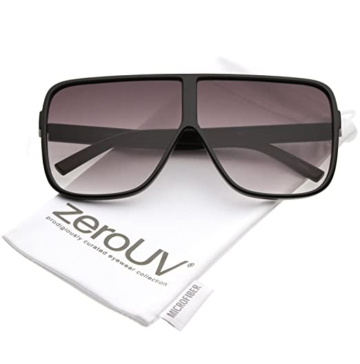67821715d4 zeroUV - Oversize Flat Top Neutral Color Flat Lens Square Sunglasses 69mm  (Black Lavender