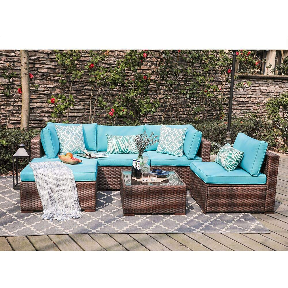 OC Orange-Casul 6-Piece Outdoor Patio Sectional Sofa Set Brown Wicker Furniture Set with Turquoise Seat Cushions Tempered Glass Coffee Table