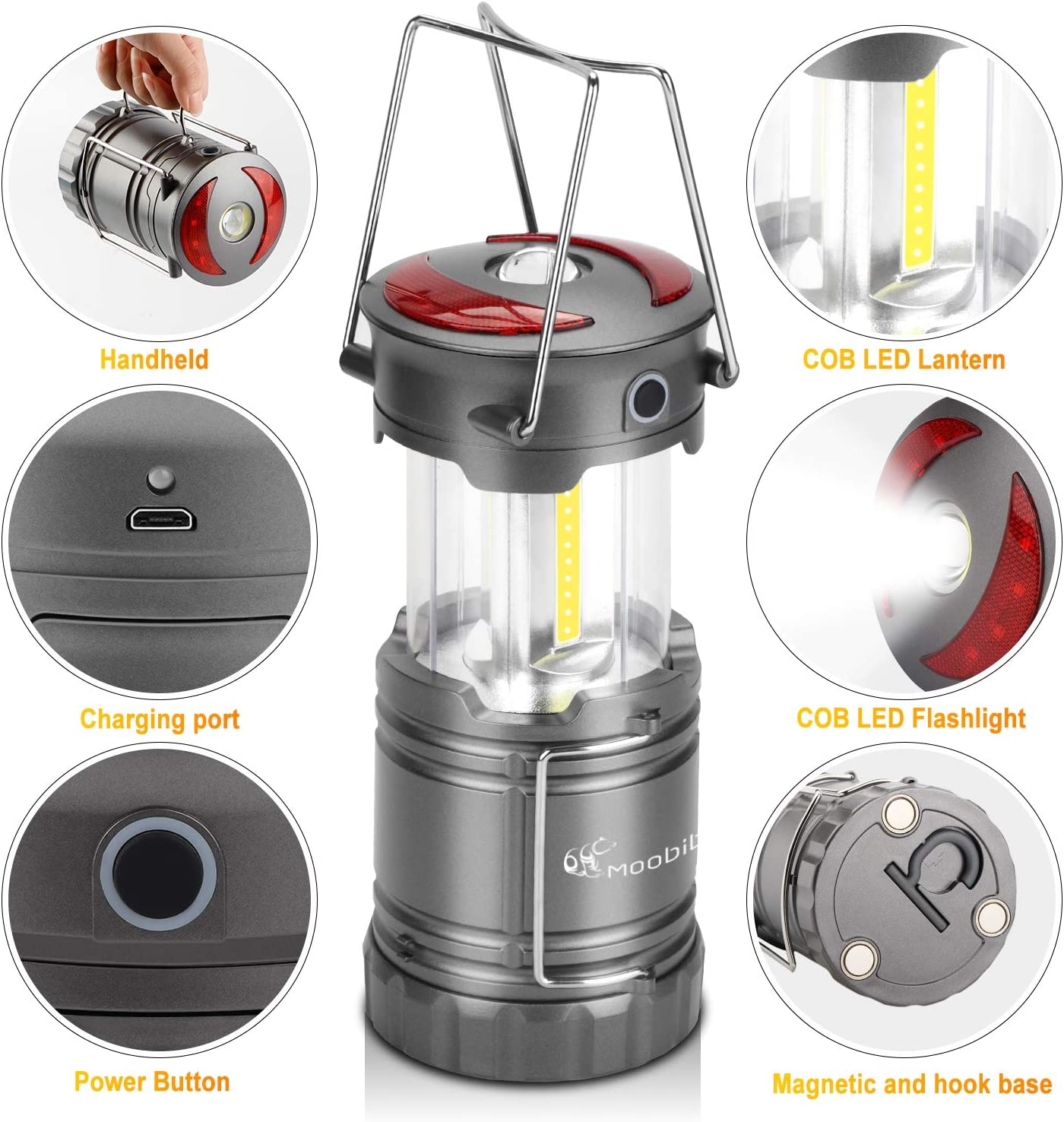 Solar Camping Tent Lantern Outdoor Camping Hanging Lamp 3W COB LED 1200mA