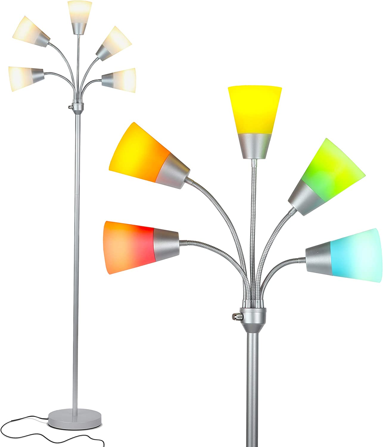 Brightech Medusa Modern LED Floor Lamp – Contemporary Multi Head Standing Reading Lamp for Living Room, Bedroom, Kids Room - Includes 5 LED Bulbs and 5 White & Colored Interchangeable Shades – Silver