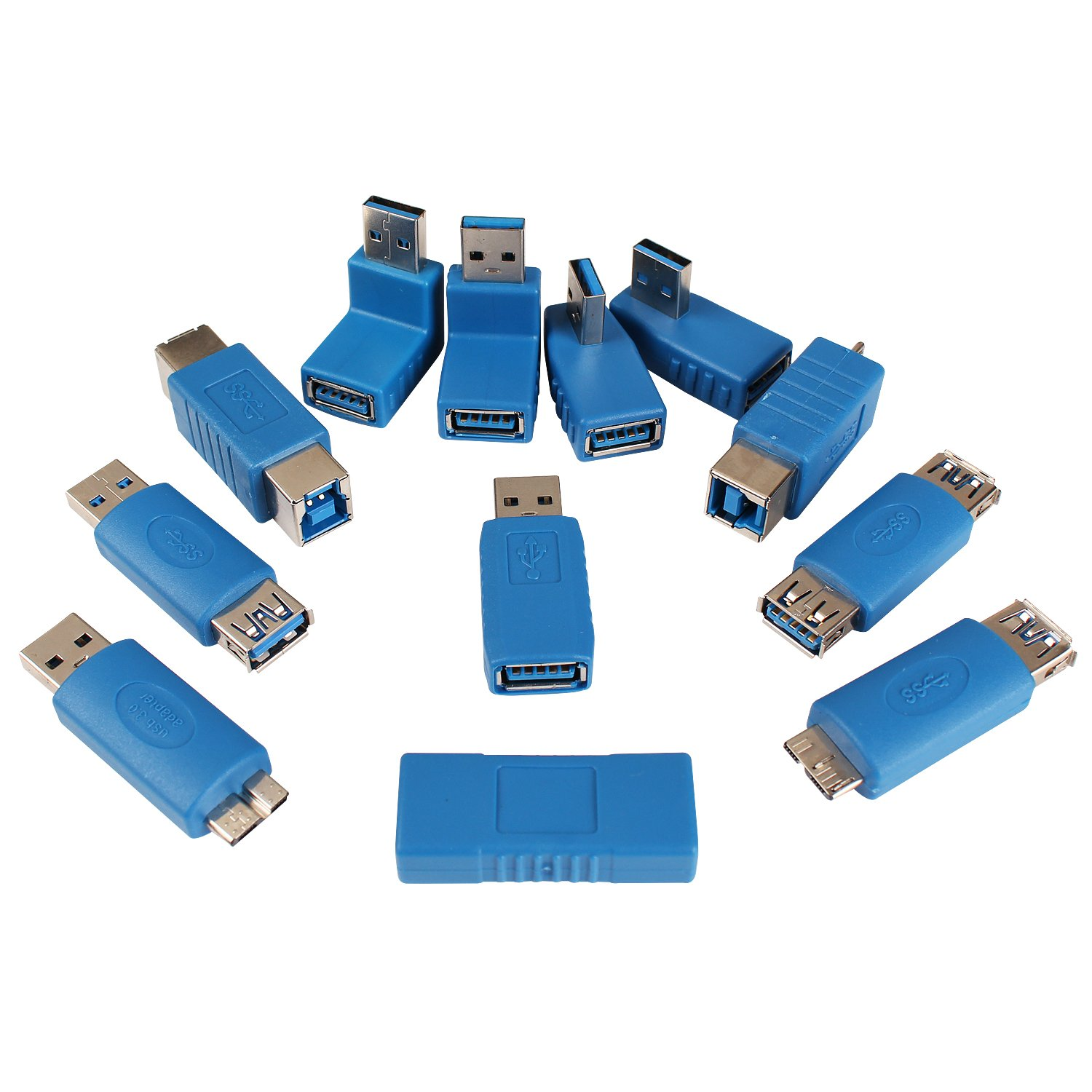 USB 3.0 Adapter Couplers Toolkit Type A to B or MicroB or Mini And Male to Female Adapters by NICE TECH NIC