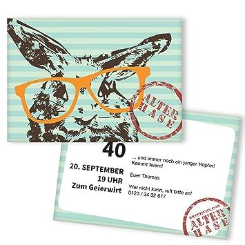 Einladungskarten Zum Geburtstag   Alter Hase | 25 Stück | Inkl. Druck Ihrer  Persönlichen Texte