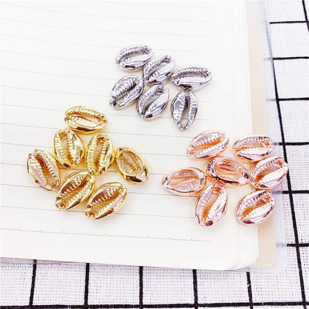 SUPVOX 50 Pcs Plaqu/é Spirale Shell Perles 19mm Plaqu/é Or Plage Coquillages Cauris Coquillages Charms avec Trous pour Bricolage Artisanat Fabrication de Bijoux Accessoires
