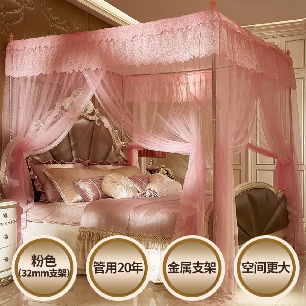Violet encryption thickened palace mosquito nets, Stainless steel frame Double Residential bed canopy-A Queen2