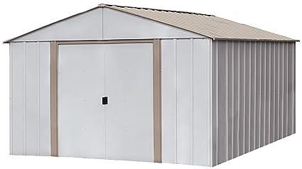 Beau Arrow Oakbrook High Gable Steel Storage Shed, Eggshell/Taupe, 10 X 14 Ft