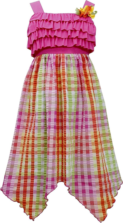 6c648a68d Amazon.com  Tween Girls 7-16 Fuchsia Ruffly Knit to Multi Plaid ...
