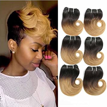 Amazoncom Showjarlly Ombre Blonde Brazilian Hair Weave 6 Bundles