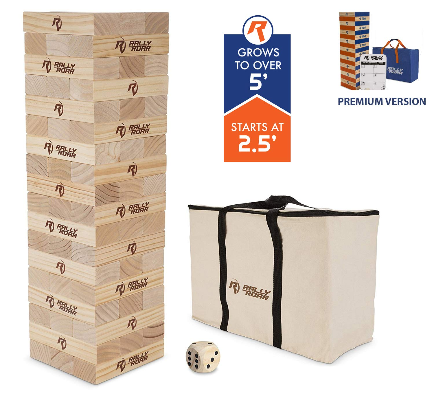 Rally and Roar Toppling Tower Giant Tumbling Timbers Game 2.5 feet Tall (Build to Over 5 feet)– Classic Wood Version - for Adults, Kids, Family – Stacking Blocks Set w/Canvas Bag by Rally and Roar (Image #1)