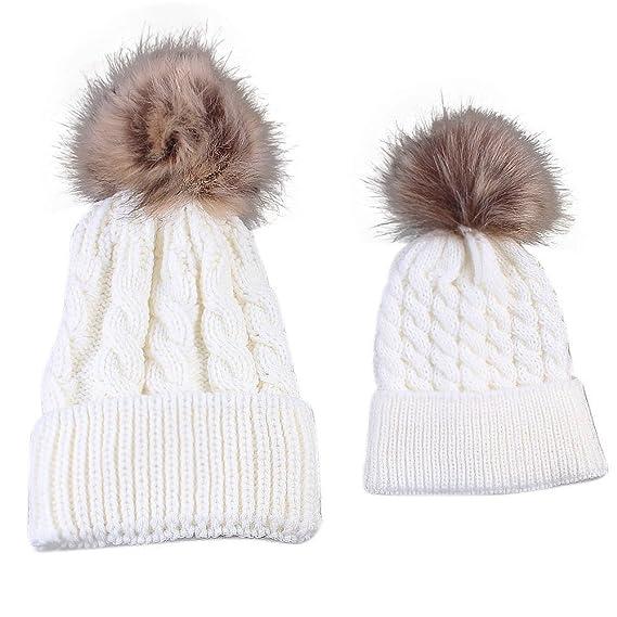 Gorros de punto Sannysis 2PCS gorro de invierno para madre y bebé (Blanco) 65855eb7d21