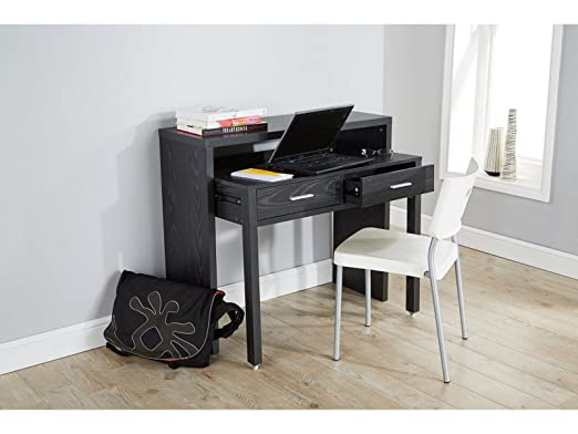 Value Furniture Regis Negro Mesa Consola Extensible Escritorio ...