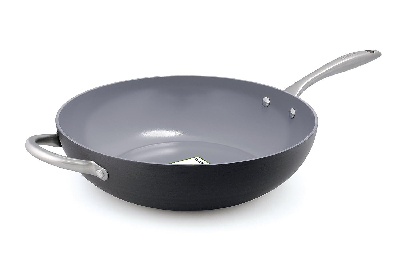 GreenPan Lima 12.5 Ceramic Non-Stick Open Wok with Helper Handle CW0004251