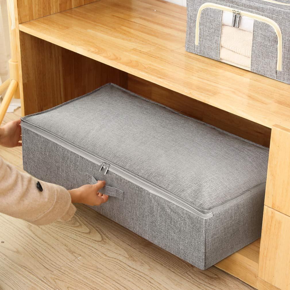 Cajas de almacenamiento debajo de la cama con tapas Organizadores de armario plegables para s/ábanas de ropa SimpleHome 2er Bolsas de almacenamiento bajo la cama 70 x 43 x 18 cm.