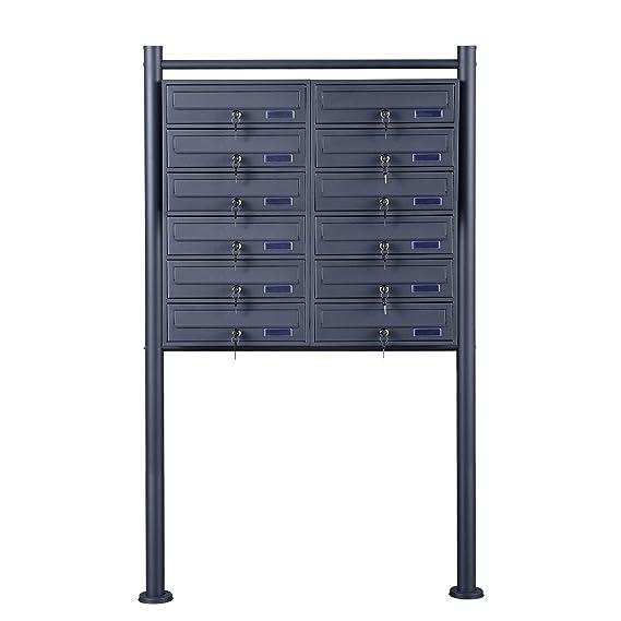 Briefkasten Briefkastenanlage Standbriefkasten Letterbox Schwarz Design Stahl XL