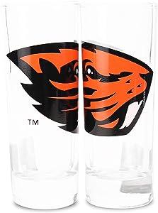 NCAA Color Team Logo 2oz Cordial Shot Glass 2-Pack (Oregon State Beavers)
