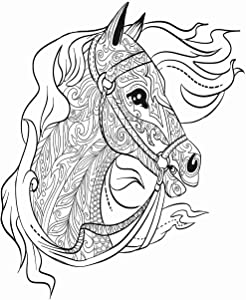 Eaiizer Poster Wall Art Print Antistress Doodle Horse Head for Adult Coloring Book Animal 16x24 Inches Artwork for Home Bedroom Decor