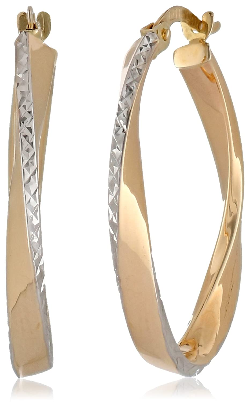 14k Gold Two-Tone High Polished Diamond-Cut Semi-Oval Hoop Earrings