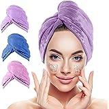 Microfiber Hair Towel,3 Packs Hair Turbans for Wet Hair, Drying Hair Wrap Towels for Curly Hair Women Anti Frizz,Super Absorb