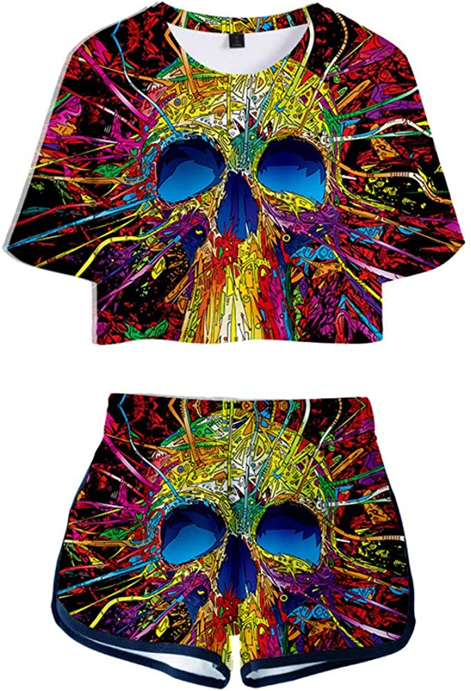 2 Piece/Skull Outfits for Women Girls Halloween Crop Top and Shorts Pants Sets