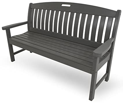 Surprising Polywood Nb60Gy Nautical Bench 60 Inch Slate Grey Bralicious Painted Fabric Chair Ideas Braliciousco
