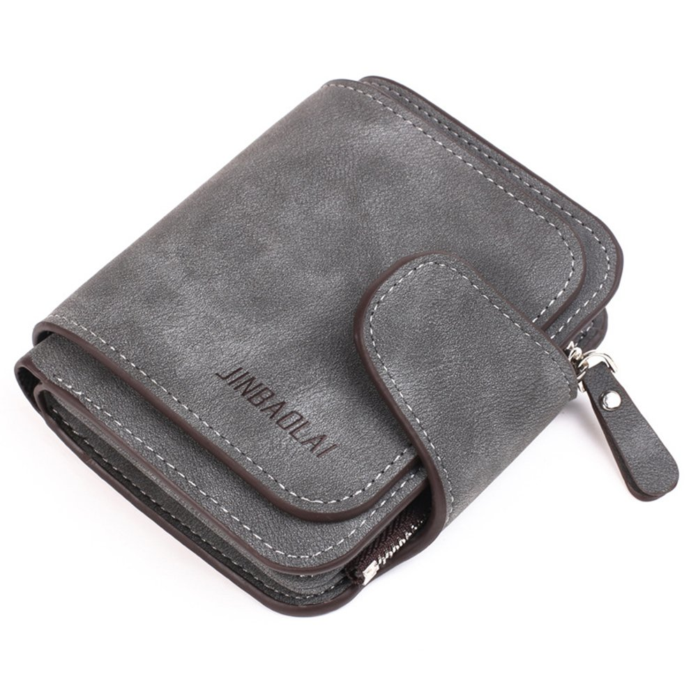 Belsmi Rfid Blocking Women Leather Wallet Lady Clutch Purse Zipper Pocket Card Holder Organizer Lightweight Bifold Wallets (Small - Deep Grey)