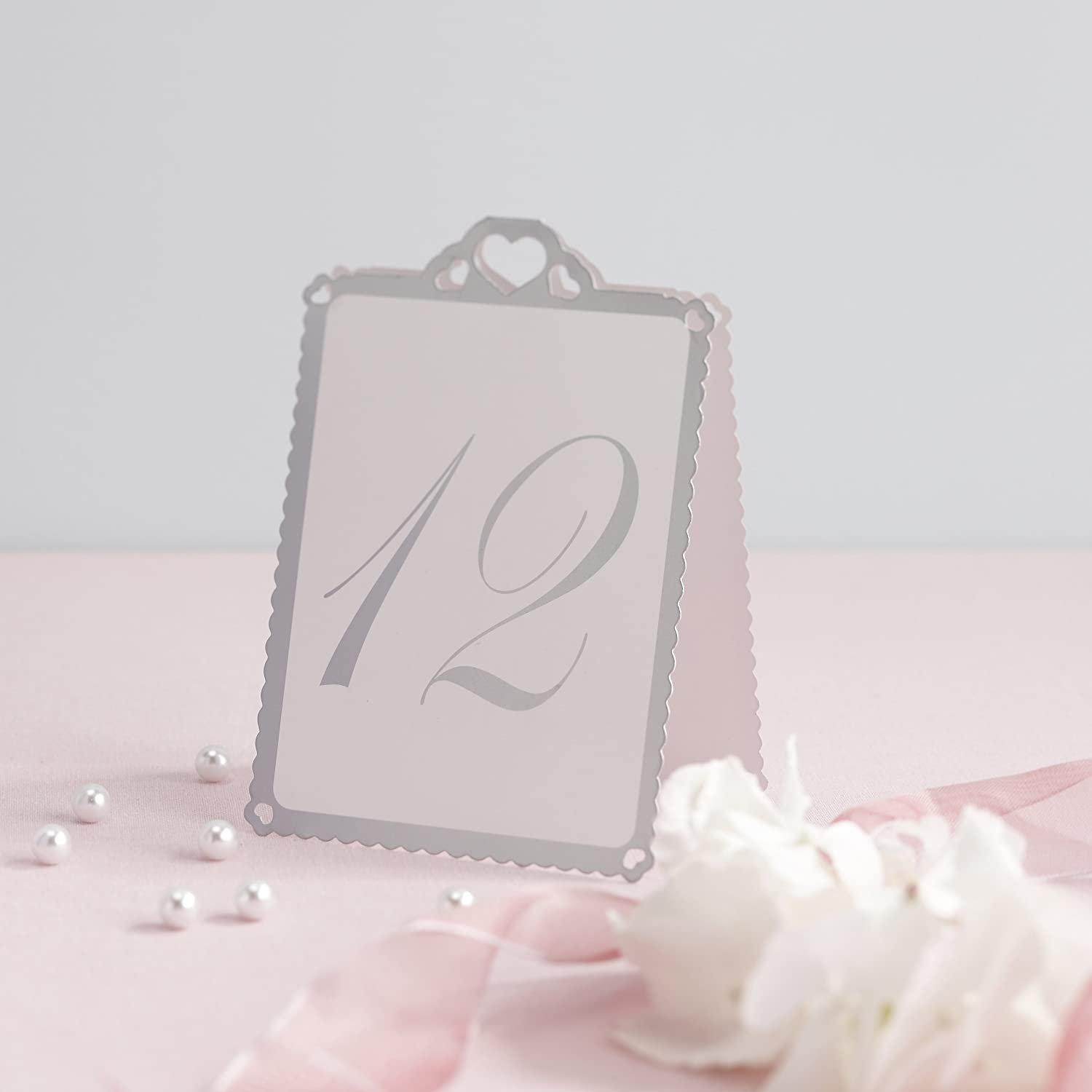 amazon com ginger ray silver heart table tent numbers 1 12 for