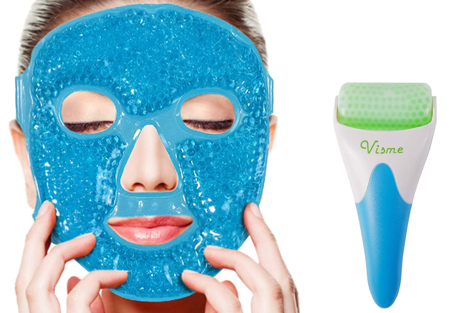 Face Ficial Jade Ice Roller – Gel Eye Mask Cold Reusable Therapy With Cooling Ice Roller Anti Wrinkle Gua Sha Tool for Face & Eye Puffiness Migraine Pain Relief Facial Massager Treatment Gif for Women