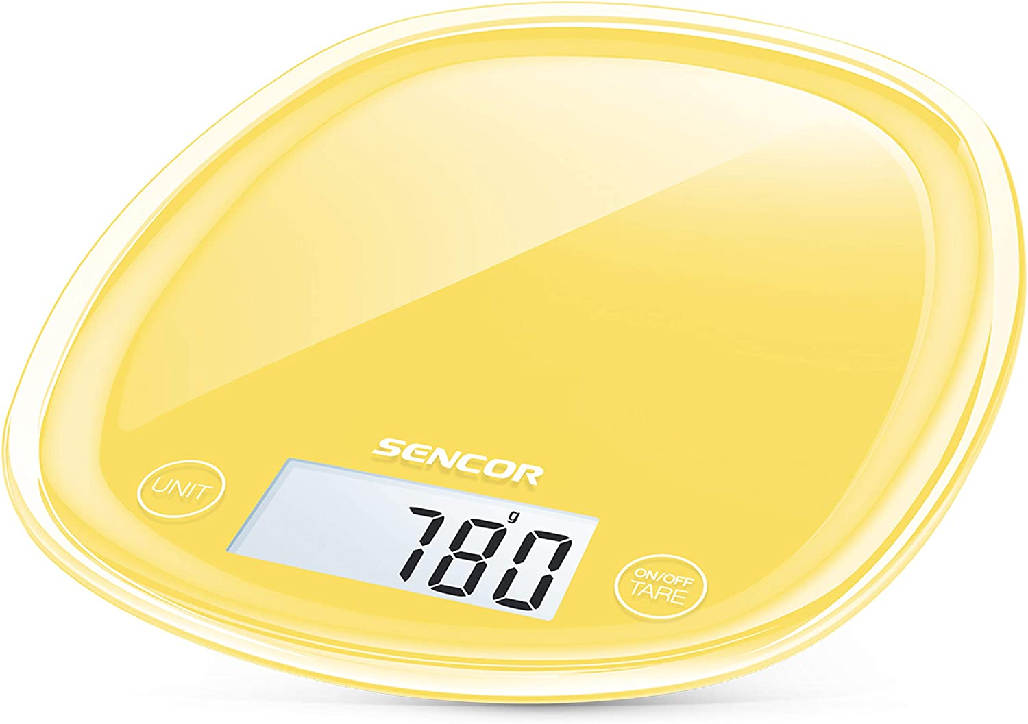 Sencor Digital Kitchen Scale with Large Backlit LCD Display and Touch Control Sensors, Small, Sunflower Yellow