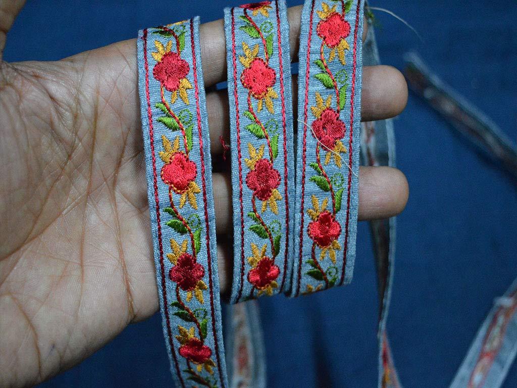 2/cm all ingrosso grigio seta ricamato nastro cucito tessuto Finiture con elementi decorativi indiano Sari Border lacci da 8,2/m di nastro artigianale floreale passamaneria