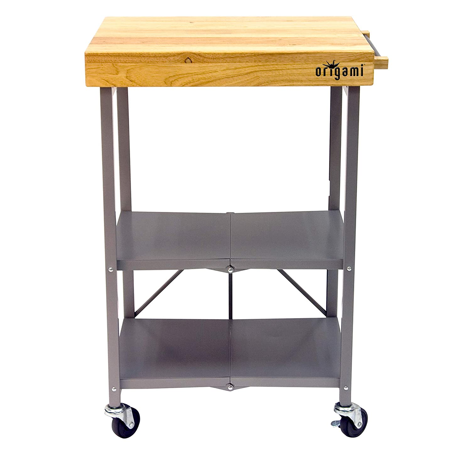 Origami Foldable Rolling Kitchen Island Cart Food Serving Cart 3 Tier Storage Shelf With Wood Top Microwave Stand Heavy Duty Silver
