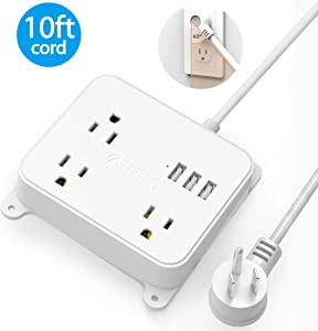 Power Strip with Long Cord, TROND Wall Mountable 10ft Outlet Extender with 3 USB Ports, 3 Widely Spaced Flat Plug Outlets, Desktop Charging Station for Dorm Room Nightstand Office, White