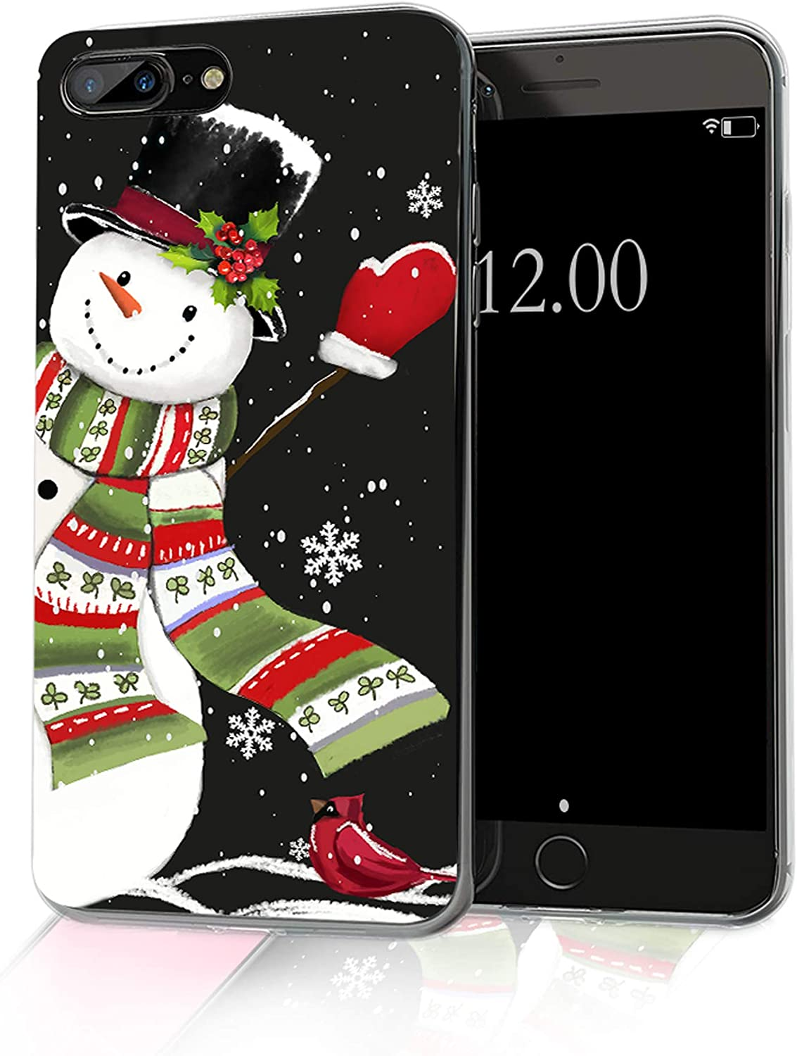 cocomong Snowman Christmas Phone Case Compatible with iPhone 8 Plus Christmas Case iPhone 7 Plus, Cute Winter Gifts for Women Girls Boys Men Slim Soft TPU Clear Protective Cover 5.5