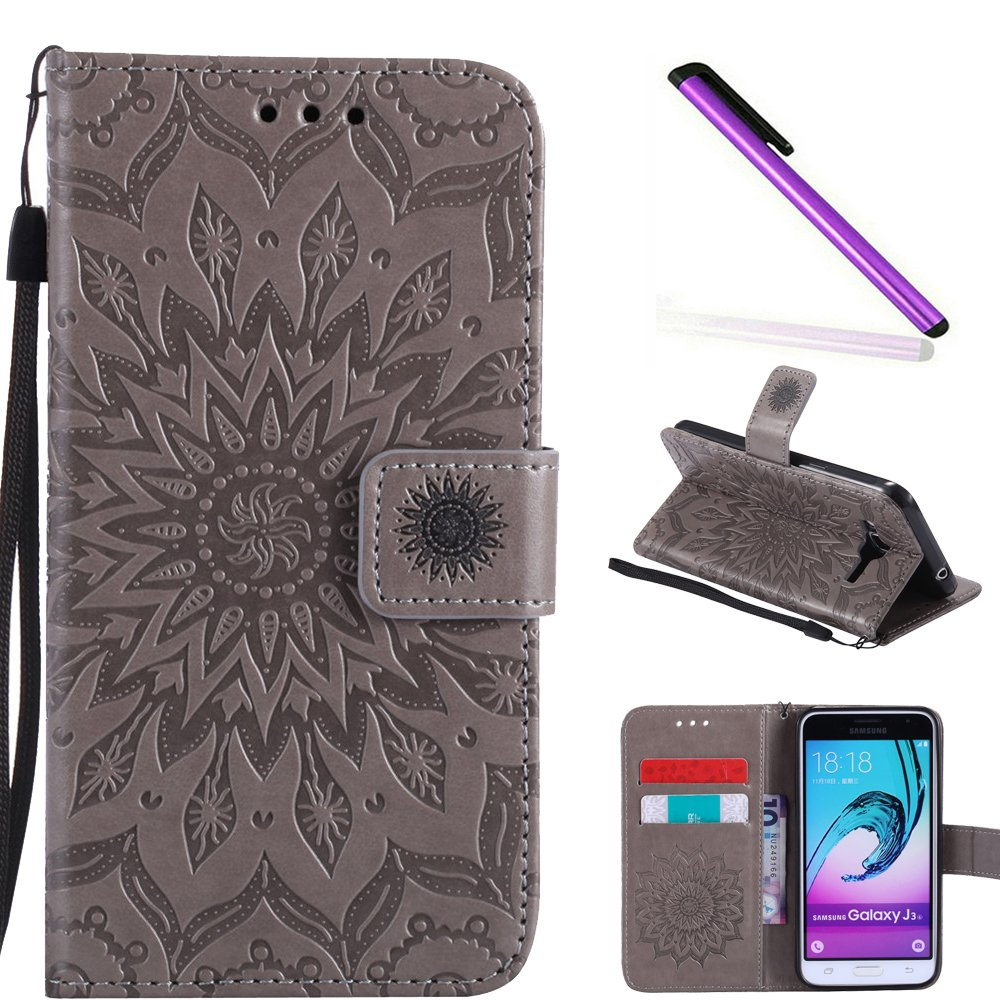 Cover Cotdinfor Folio Samsung Galaxy J3 2016 Galaxy J3 2016 Print Print Lucky Clover Embossed Mobile Phone Flip Leather Case Protective Skin Cover Case for Galaxy J3 2015 Slim PU Leather Book Style Flip Cover Leather Wal
