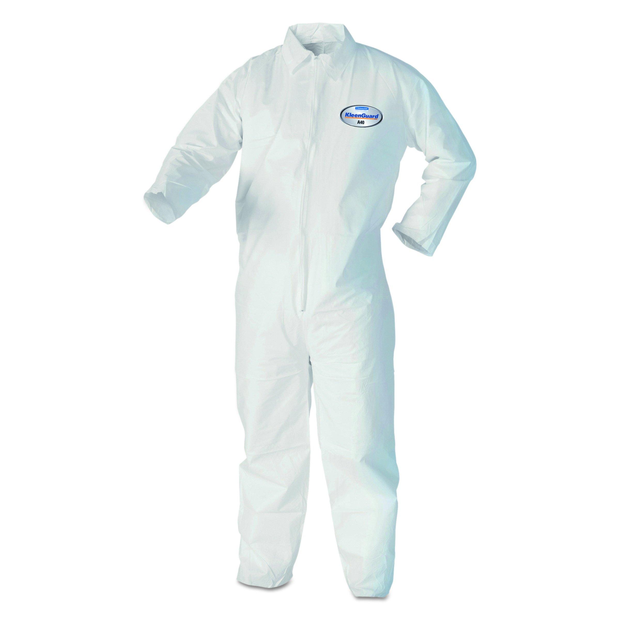 Kleenguard A40 Liquid & Particle Protection  Coveralls (44302), Zipper Front, White, Medium, 25 Garments / Case