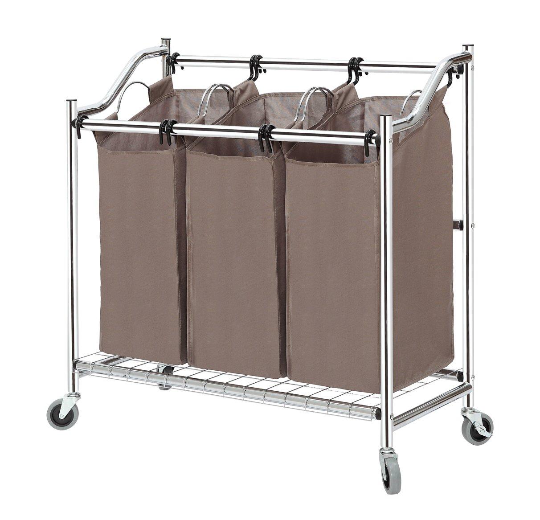 Laundry Hamper With Wheels Part - 41: Amazon.com: StorageManiac Laundry Sorter, Laundry Hamper 3 Section With  Wheels, Chrome: Home U0026 Kitchen