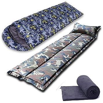 LIUDADA Saco de Dormir - Saco de Dormir Bolsa de Dormir de Camuflaje Azul Exterior para