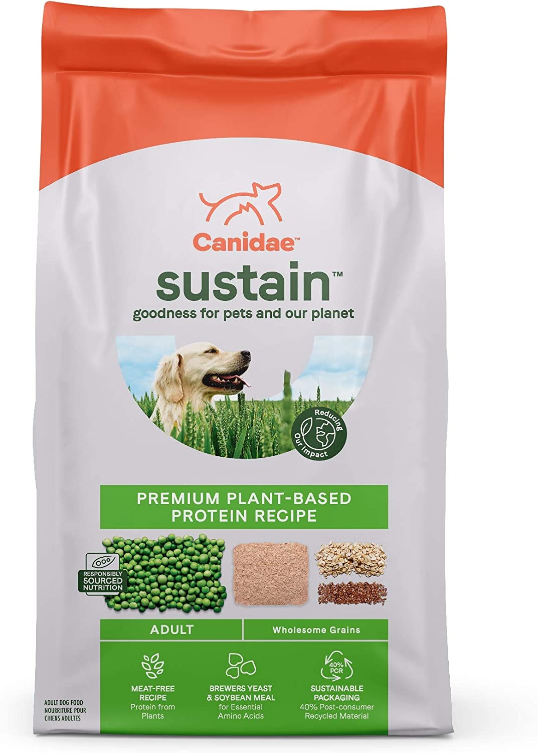 CANIDAE Sustain Environmentally-Friendly, Premium Sourced Proteins, Adult Dry Dog Food