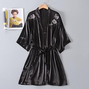 Wanglele Pijama De Seda Seda Verano Mujer Floja Bata Batas Bordadas Peony Vestir Vestidos De Novia Damas De Honor, Xl, Negro: Amazon.es: Hogar