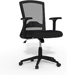 Linea Italia Porto Ergonomic Mesh Back Office Adjustable Height & Lumbar Support, Tilt Tension Modern Executive Desk Chair, Medium, Black