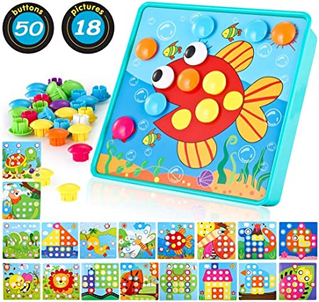 【Más alegría】 Los juguetes para niños pequeños con 18 patrones diferentes y 46 botones coloridos hac