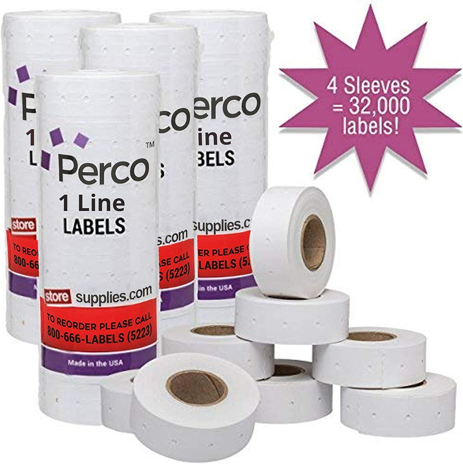 Perco 1 Line White Labels - 4 Sleeve, 32, 000 Blank Pricing Labels for Perco 1 Line Price and Date Guns - Bonus Ink Roll : Office Products
