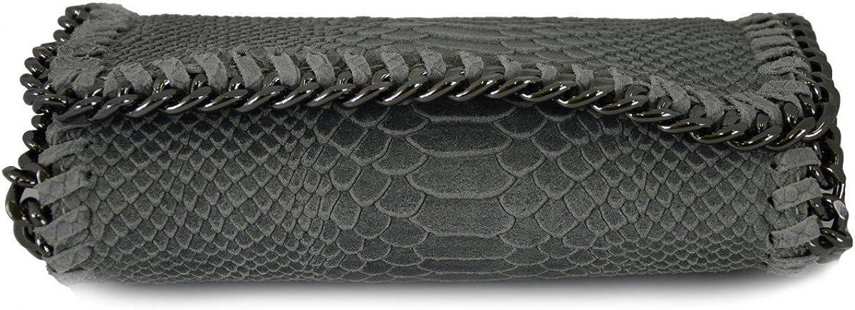 Woman Shoulder Genuine Leather Bag Python Print Color Light Grey