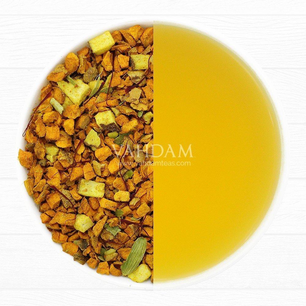 VAHDAM, té de hierbas de azafrán y cúrcuma, hojas sueltas (50 tazas) | HIERBA MAGICA DE LA INDIA | Mezcla De Té De Cúrcuma| TISANE 100% NATURAL Té ...