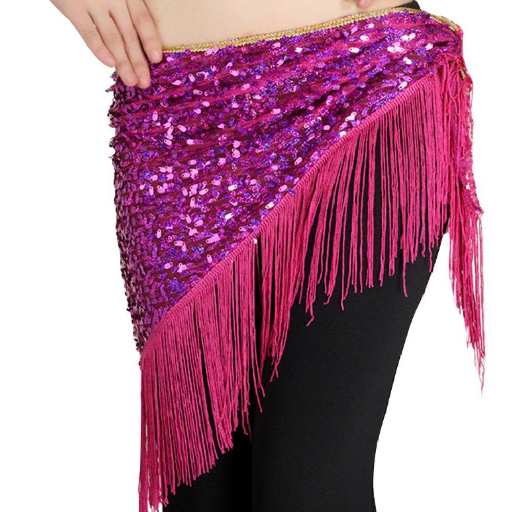 hougood triángulo de danza del vientre cadera bufanda falda cinturón de mujer hecho a mano nacional de danza disfraz accesorios lentejuelas borlas cadena de cintura, mujer, negro